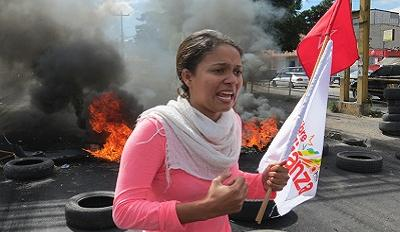 Honduran woman at anti-fraud protest in Tegucigalpa (December 2017). © Giorgio Trucchi / Rel-UITA.