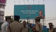 "An Ivanka Trump billboard in India that reads ""When Women Succeed, We All Succeed."""